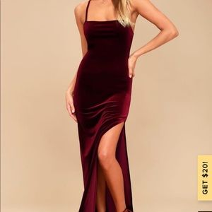 Lulu's burgundy velvet gown full length slit small